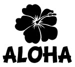 ALOHA WITH HIBISCUS Decal